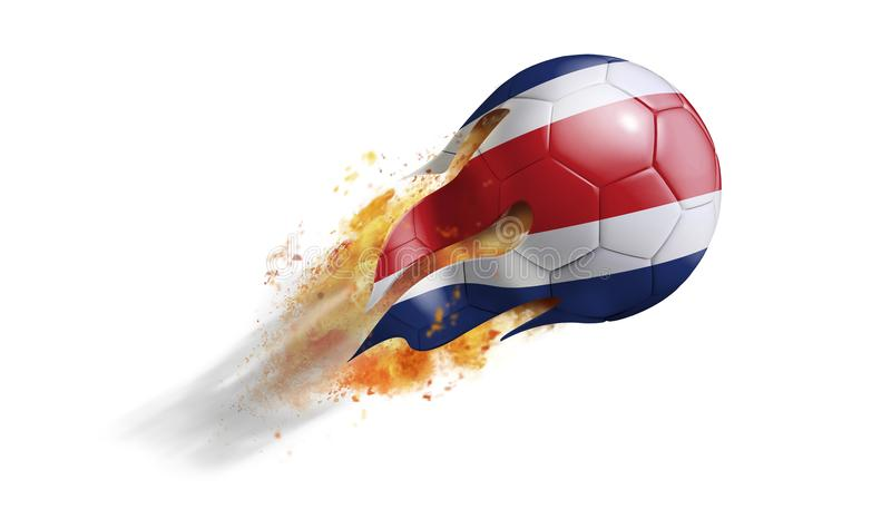 Flying Flaming Soccer Ball with Costa Rica Flag stock illustration