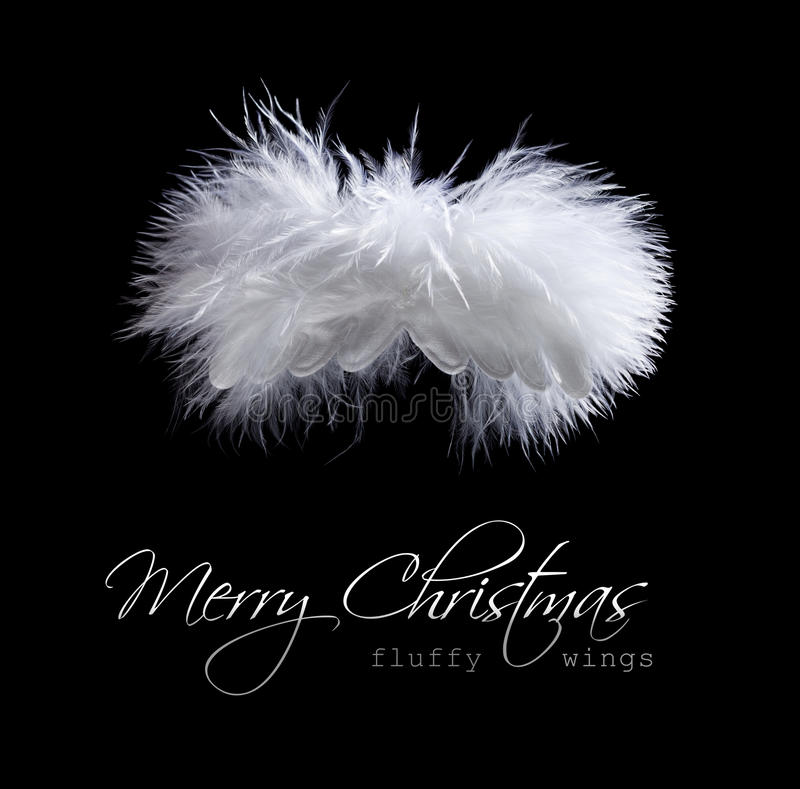 Flying fluffy christmas angel stock photo