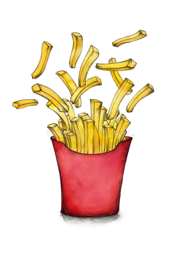 Flying french fries with a red box royalty free illustration
