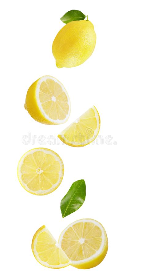 Falling lemon isolated on white background. Flying fruits. Falling lemon isolated on white background with clipping path as package design element and stock images