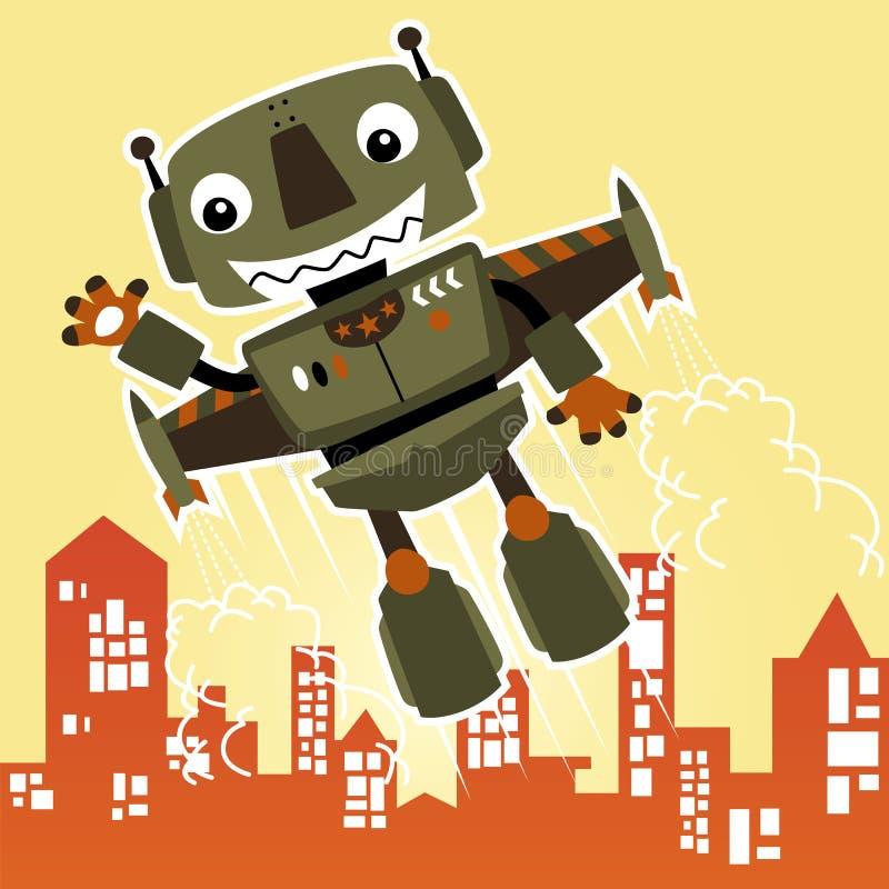 Flying funny robot cartoon vector illustration