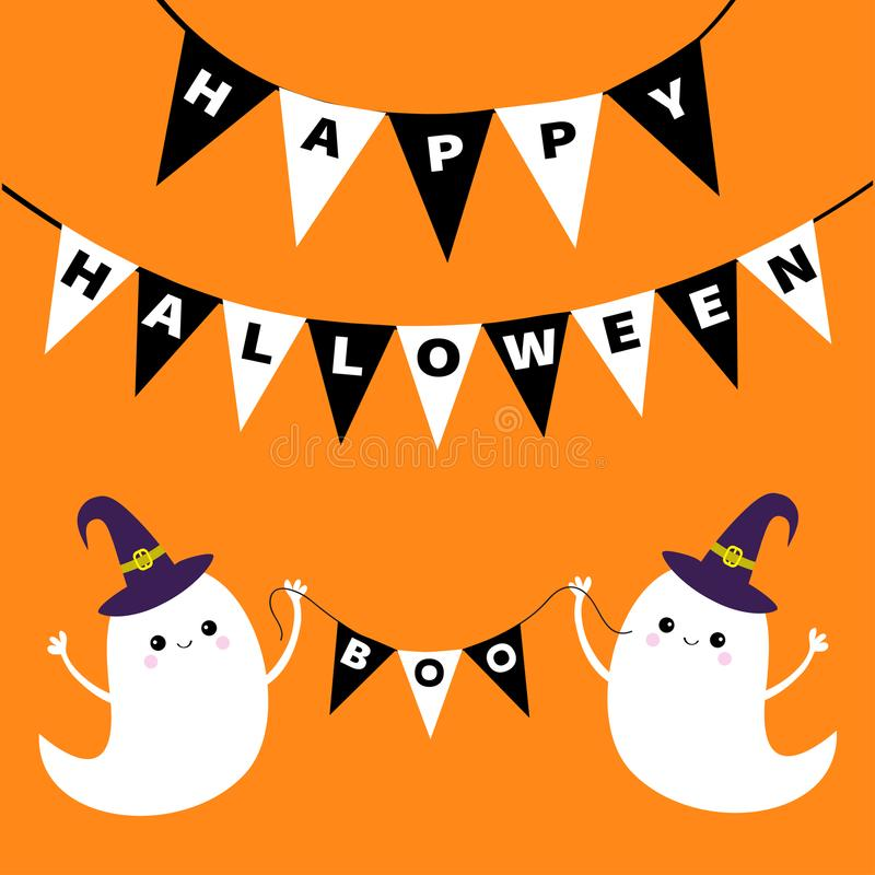 Happy Halloween. Two Scary White Ghosts. Witch Hat. Cute Cartoon Spooky  Character. Smiling Face, Hands. Orange Background Greeting Card Flat Design  Vector