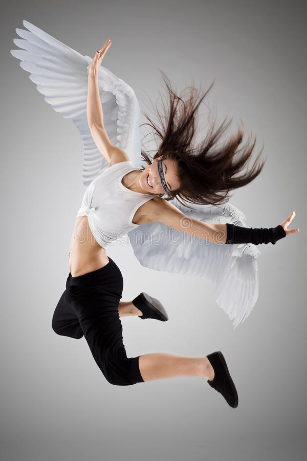 The flying girl stock photos