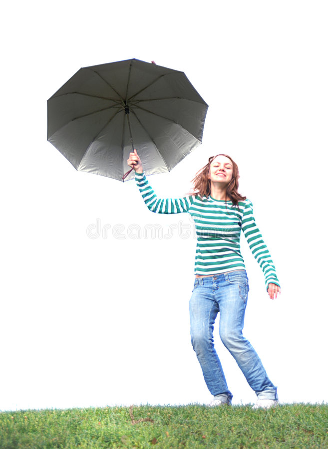 Flying girl. Girl flying with her umbrella royalty free stock photography