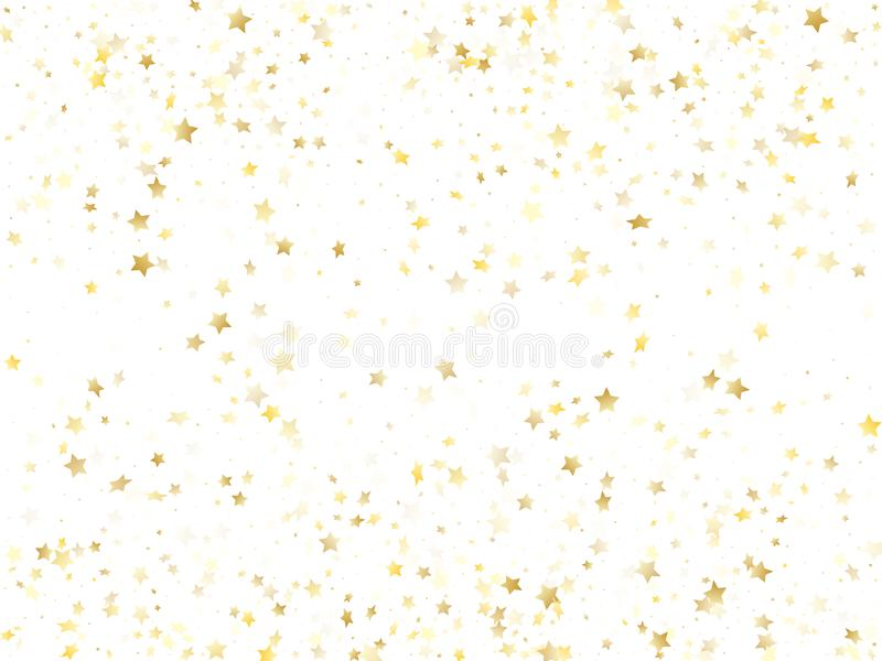 Flying gold star sparkle vector with white background. Glittering gold gradient christmas sparkles glitter geometric star pattern. Holiday tinsels scatter royalty free illustration