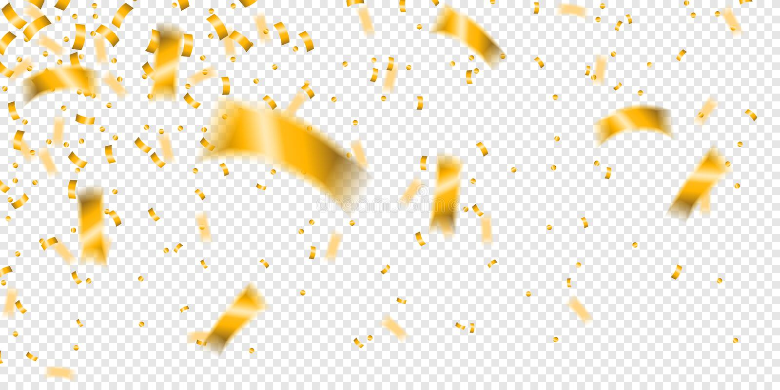 Flying golden confetti isolated transparent background vector stock illustration