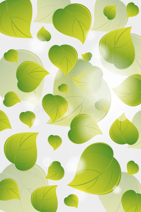 Flying green leaves royalty free illustration