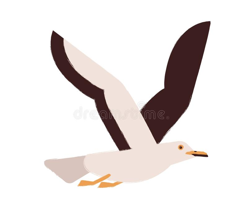 Flying gull with wings up flat vector illustration. Marine seagull. Wildlife fauna species. Cute winged creature. Wild. Animal. Bright colored seabird taking vector illustration