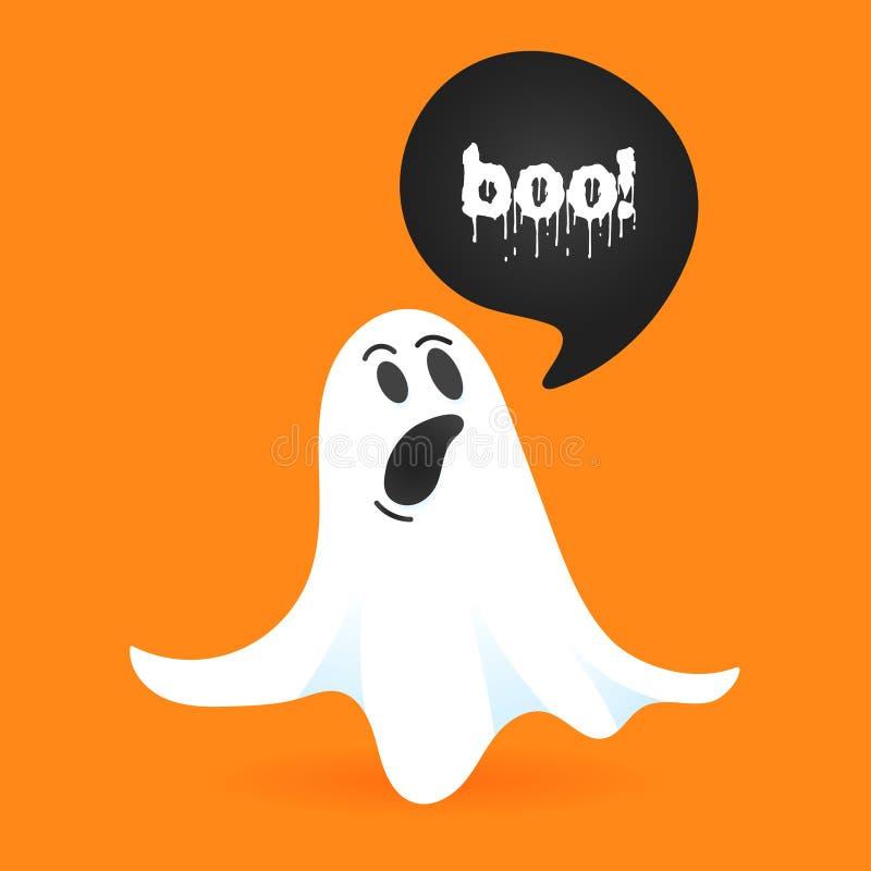 Flying halloween drôle personnage fantôme bizarre disent BOO illustration stock