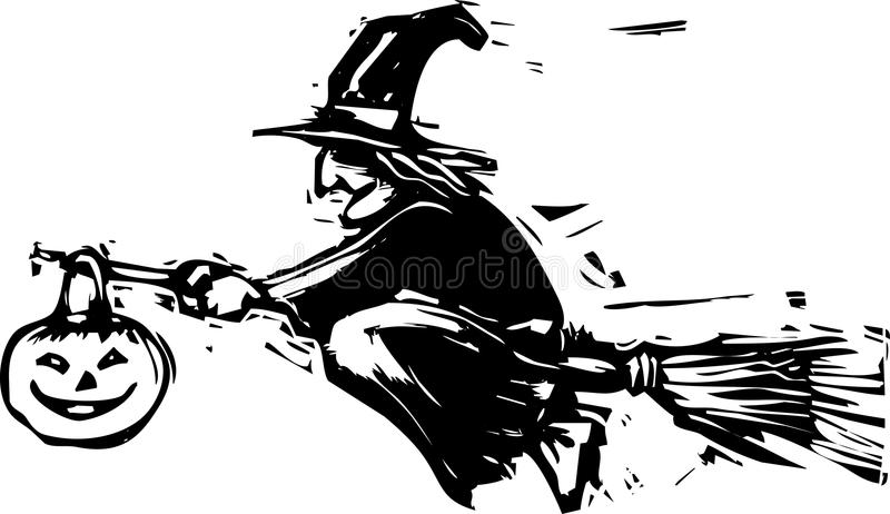Flying Halloween Witch vector illustration
