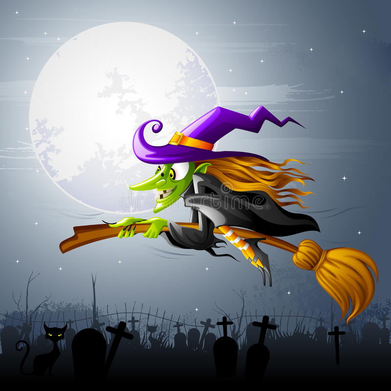 Download Flying Halloween Witch stock vector. Image of fashion - 26862241