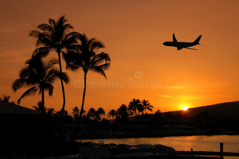 Flying Into Hawaii royalty free stock photos