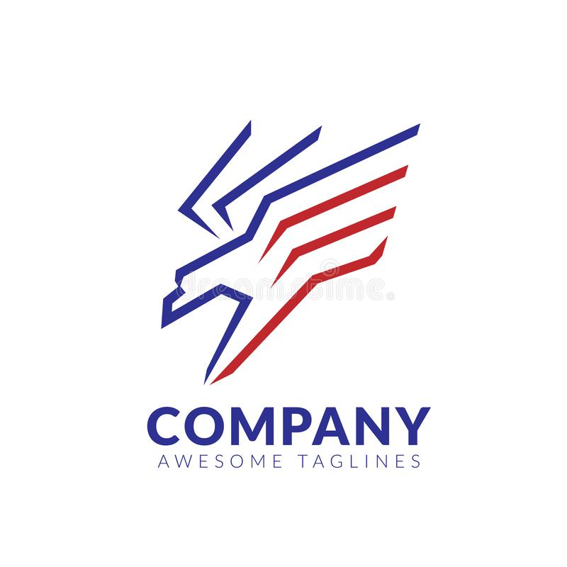 Flying Hawk logo linear design Template royalty free illustration