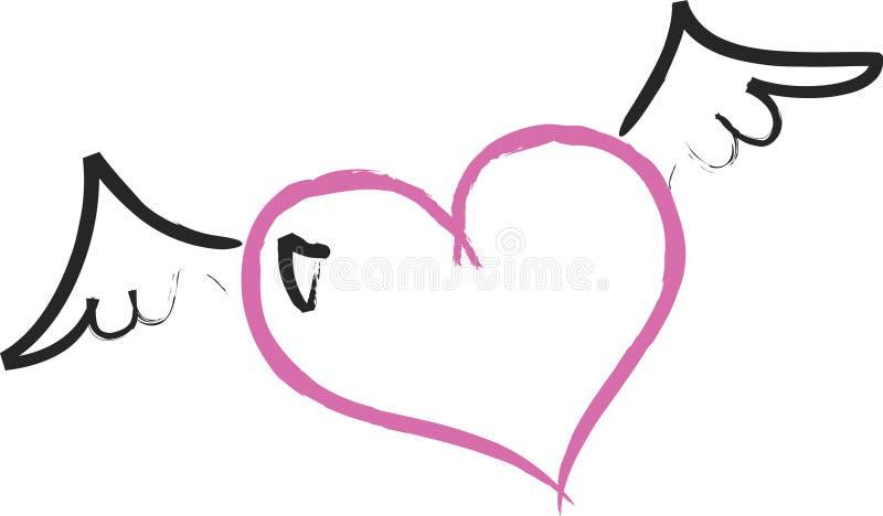 Flying Heart. Illustration of a flying heart royalty free illustration