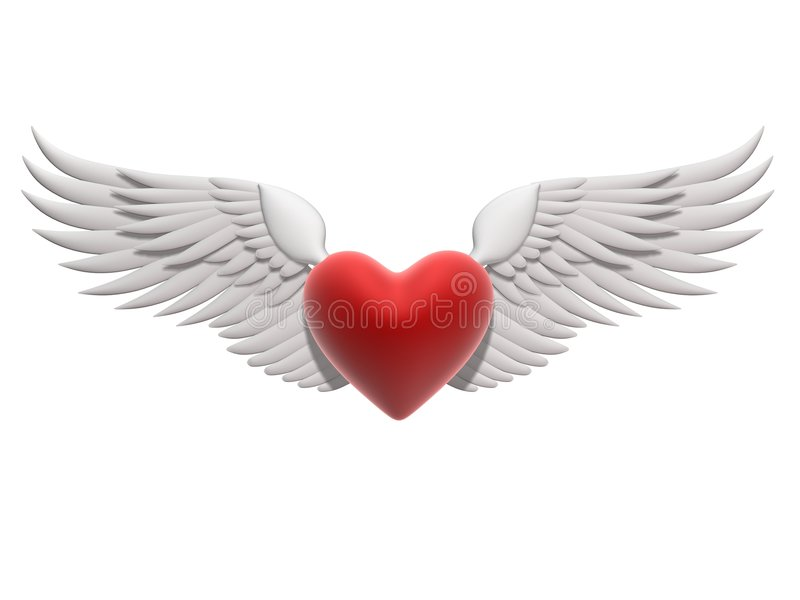 Flying heart royalty free illustration