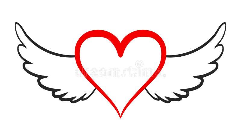 Flying heart icon - vector illustration