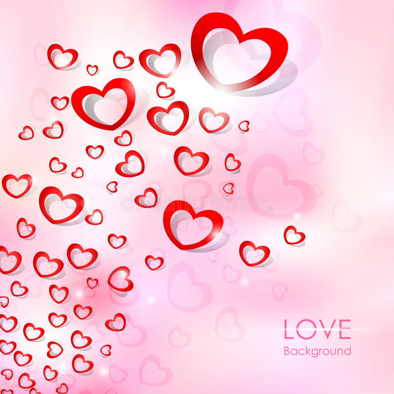 Flying Heart Love Background vector illustration