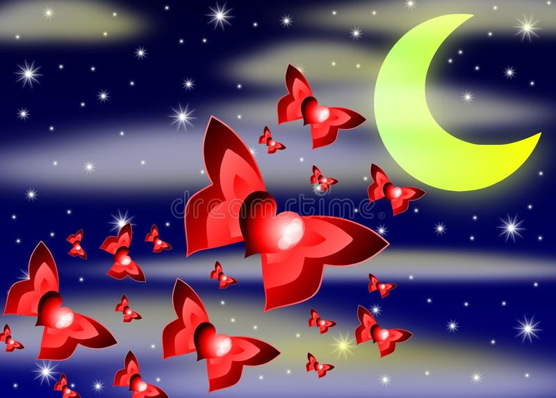 Download Flying hearts stock illustration. Illustration of heart - 27251488