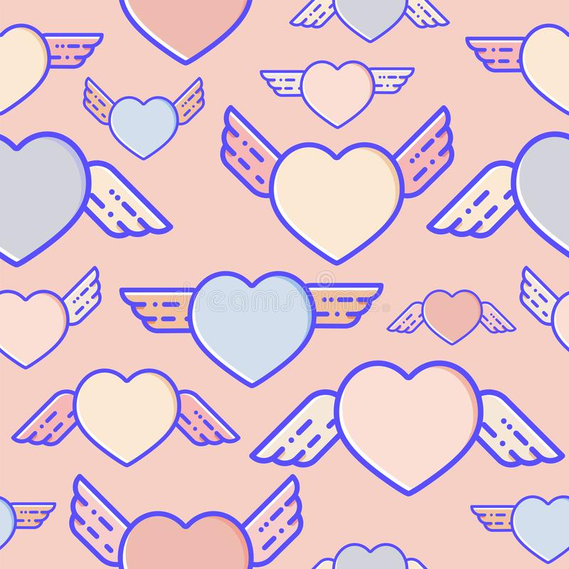 Flying hearts seamless pattern. Subtle pastel colours, flat design, vector illustration. stock illustration