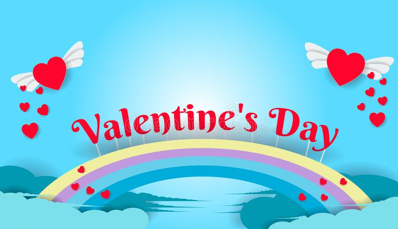 Flying hearts on Valentine`s Day have a rainbow on the sky backg vector illustration