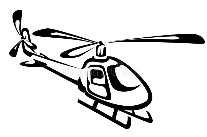 Flying helicopter. Isolated on white as a rescue symbol stock illustration