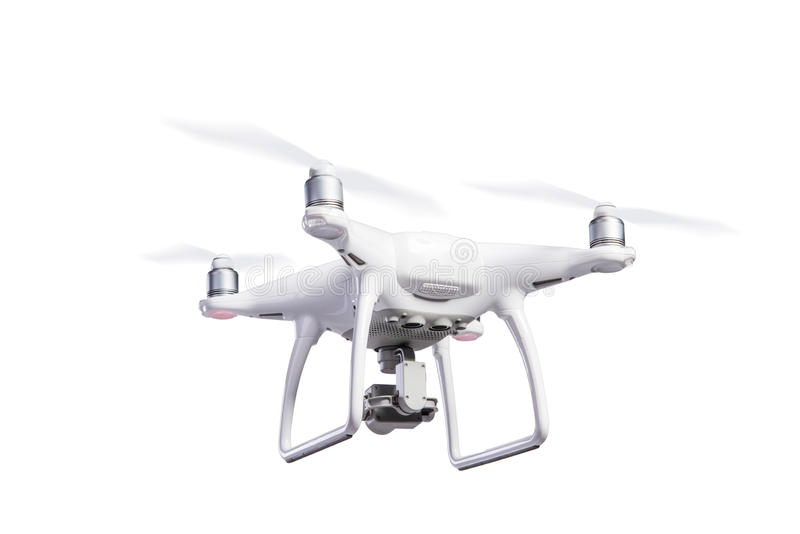 Flying helicopter drone with camera. Studio shot, isolated. stock photography