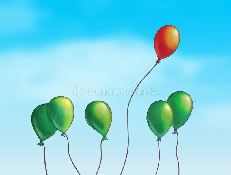 Flying high. Group of colored balloons over a bright blue sky. Hand painted illustration, digitally enhanced vector illustration