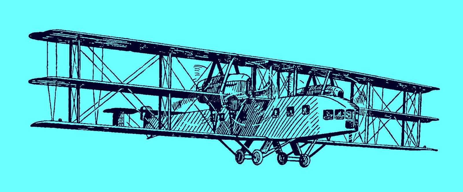 Flying historical propeller-driven triplane airliner transporting passengers. Illustration on a blue background after a stock images