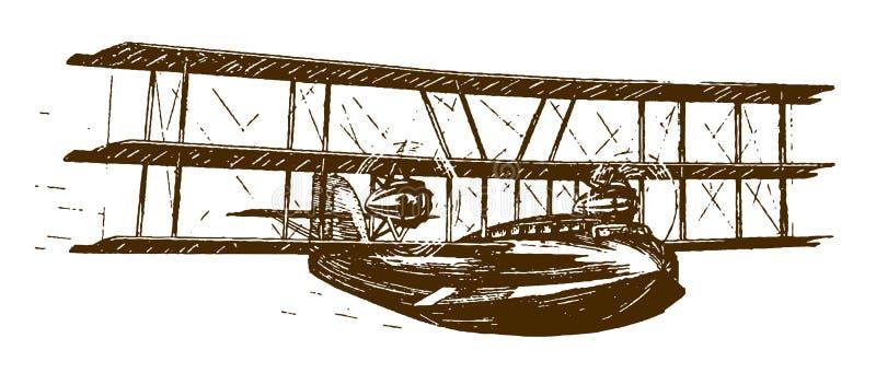 Flying historisch zweiplane-floatplane stock abbildung