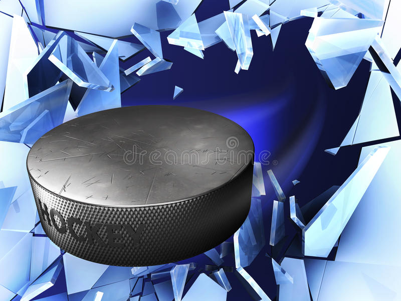 Flying hockey puck and crushed ice stock illustration