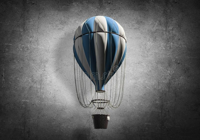 Flying hot air balloon in the room. stock illustration