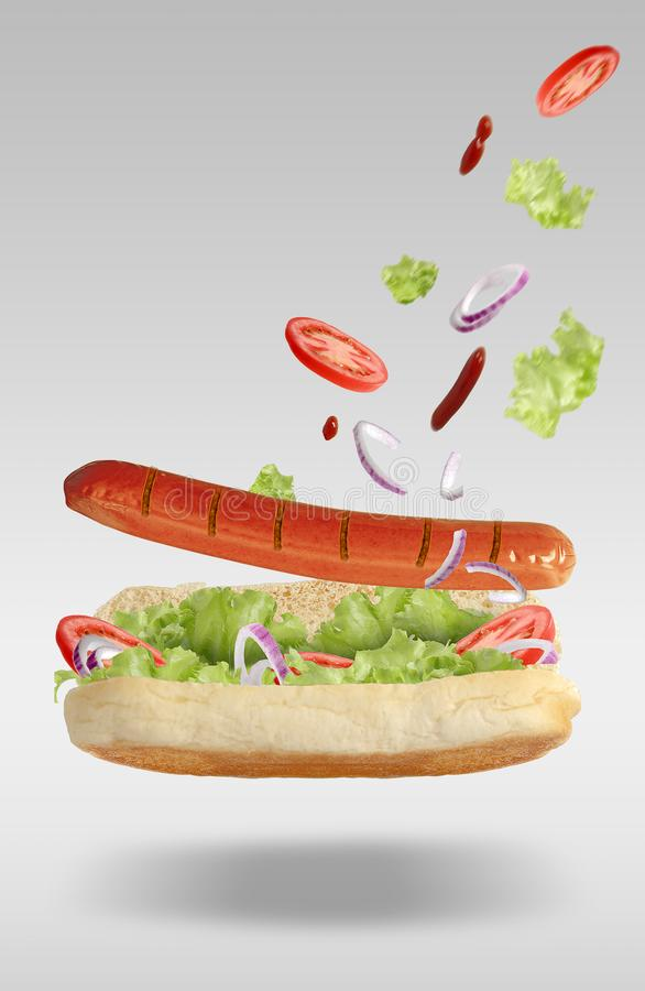 Flying hot dog stock photo