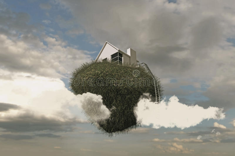 Flying house. Caught in the sky royalty free stock photos
