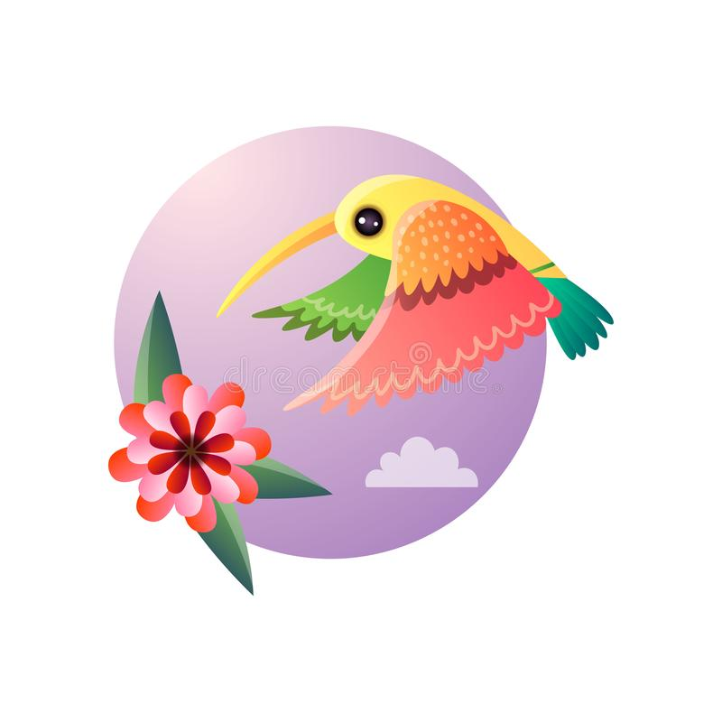Flying hummingbirds with color plumage and flower. Tropical tiny bird character collecting nectar from exotic bloomy plant. Exotic jungle nature round sky stock illustration