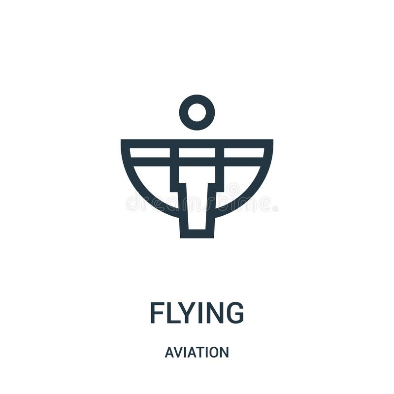 Flying icon vector from aviation collection. Thin line flying outline icon vector illustration. Linear symbol for use on web and. Mobile apps, logo, print media stock illustration