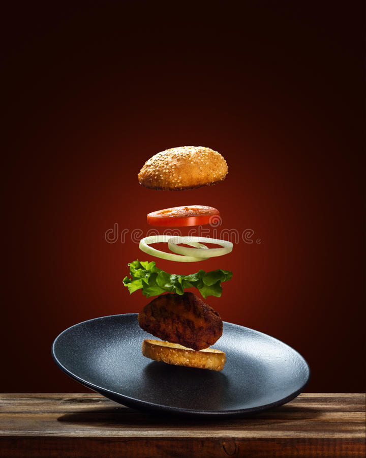 Flying Ingredients Burger stock images
