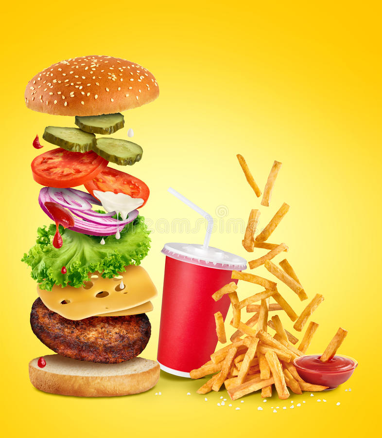 Flying ingredients of hamburger, fried potatoes, ketchup and pap royalty free stock photography
