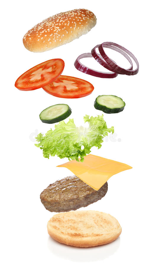 Flying ingredients of hamburger stock photos