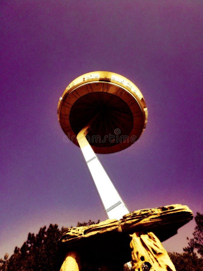 Flying Island - panoramic spaceship seen from below inside Gardaland theme park near Lake Garda, Italy. stock photos