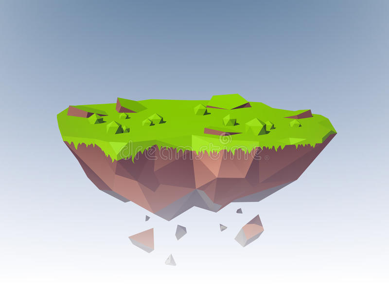 Flying Island Polygonal stock illustration