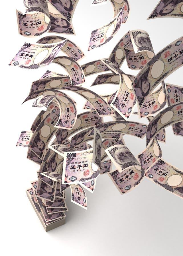 Flying Japanese Yens stock image
