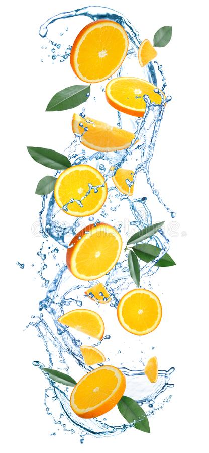 Flying juicy orange slices, citrus leaves and water splash vector illustration