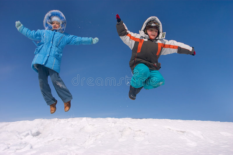 Flying kids stock image