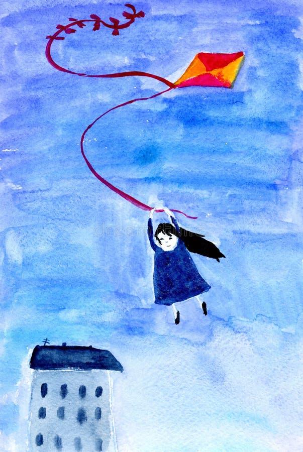 Flying on kite royalty free stock photos