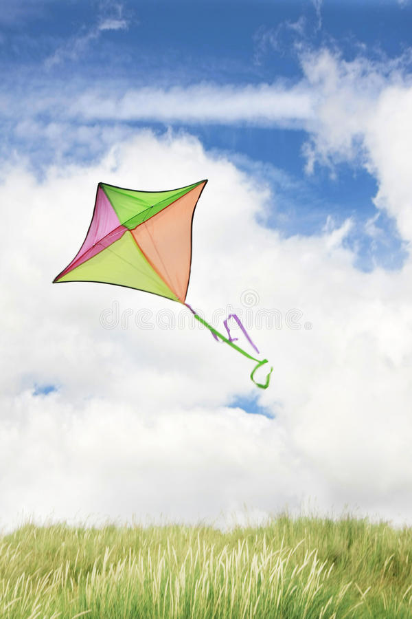 Flying kite. In the beach royalty free stock photography