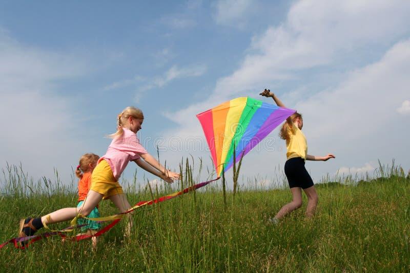 Flying kite stock photo