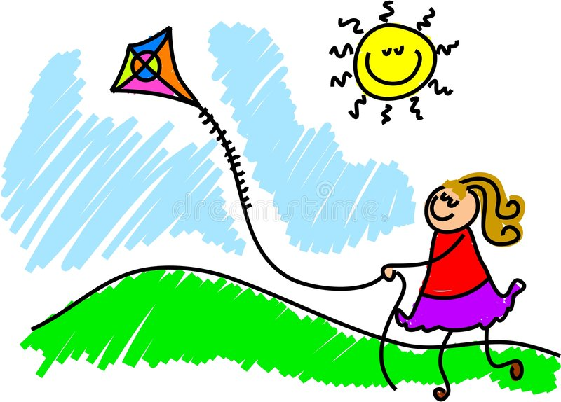 Flying a kite vector illustration