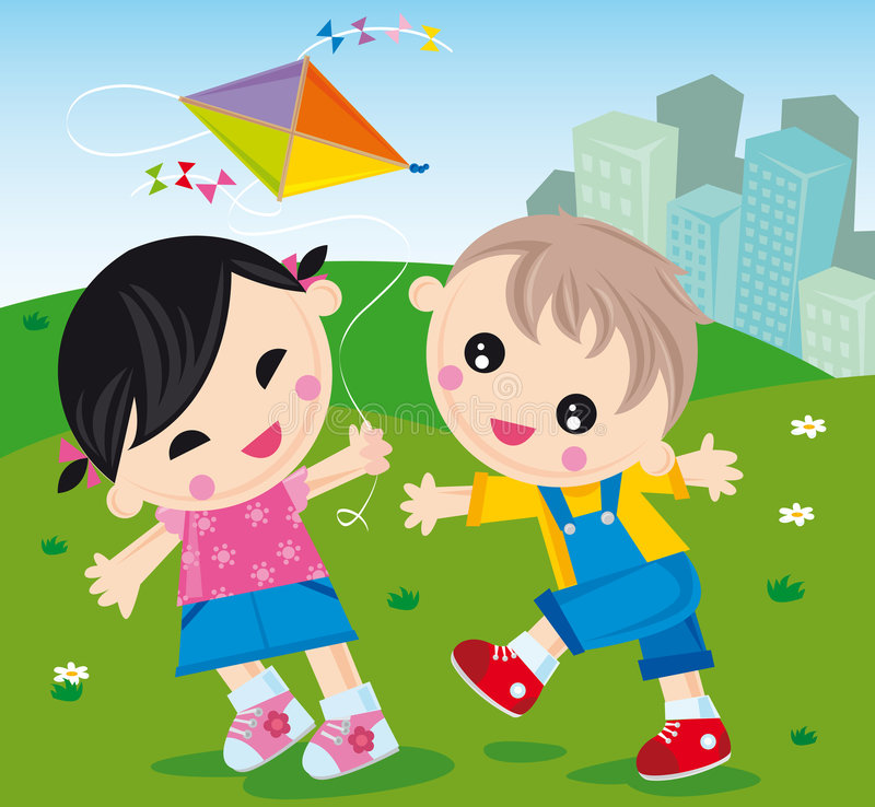 Flying kite. Illustration of girl and boy with a kite