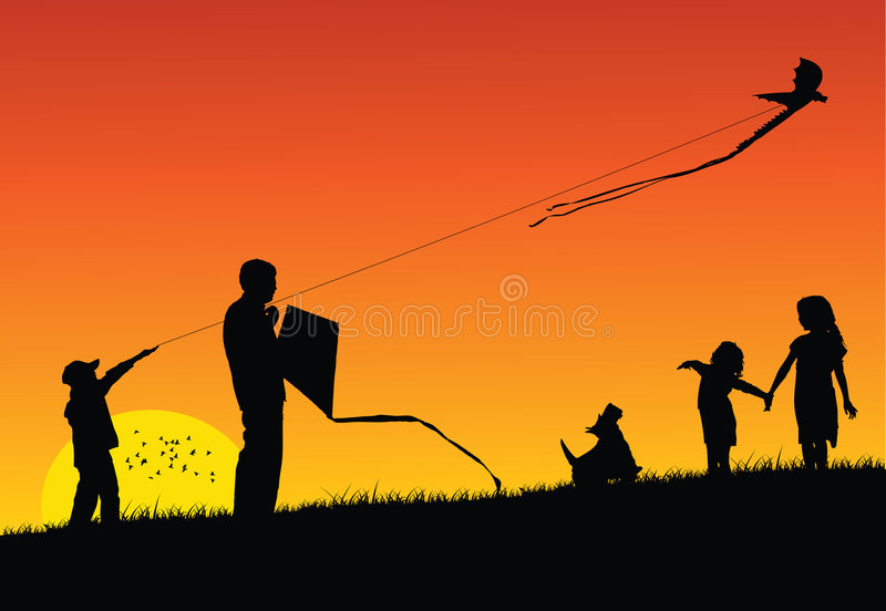 Download Flying Kite stock vector. Illustration of parent, field - 9149844