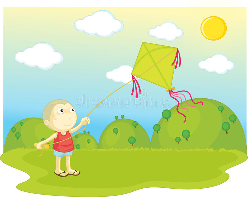 Flying a kite royalty free illustration